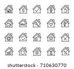 premium set of house line icons.