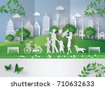 concept of eco with family... | Shutterstock .eps vector #710632633