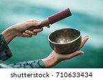 tibetan singing bowl | Shutterstock . vector #710633434