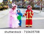 kids on halloween trick or... | Shutterstock . vector #710635708