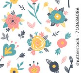 pretty vector seamless pattern... | Shutterstock .eps vector #710636086