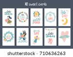 vector fairy tale cards for... | Shutterstock .eps vector #710636263