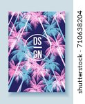 tropical palm tree retro mosaic ... | Shutterstock .eps vector #710638204