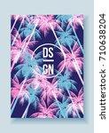 tropical palm tree retro mosaic ... | Shutterstock .eps vector #710638204
