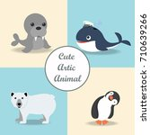 cute arctic animal | Shutterstock .eps vector #710639266