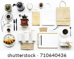 aerial view of coffee setting... | Shutterstock . vector #710640436
