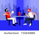 coffee time. two guys are... | Shutterstock .eps vector #710640880