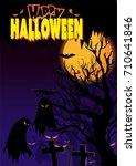 happy halloween vector... | Shutterstock .eps vector #710641846