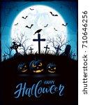 halloween background with...   Shutterstock .eps vector #710646256