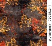 imprints autumn leaves seamless ... | Shutterstock . vector #710651344