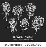 set of doodle sketch flower... | Shutterstock .eps vector #710651410