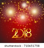 2018 new year gold glossy... | Shutterstock . vector #710651758