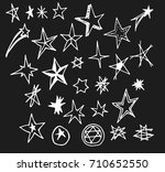 set of doodle star hand drawn... | Shutterstock .eps vector #710652550