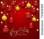 red background with christmas... | Shutterstock .eps vector #710656309