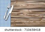 blue checked picnic blanket... | Shutterstock .eps vector #710658418