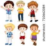 cute boys with happy face... | Shutterstock .eps vector #710662084