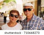 portrait of senior couple... | Shutterstock . vector #710668273