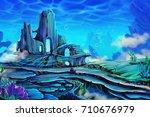 undersea forest. colored pencil ... | Shutterstock . vector #710676979