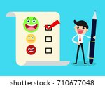 customer choosing happy face on ... | Shutterstock .eps vector #710677048