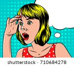a girl  in shocked emotion.... | Shutterstock .eps vector #710684278