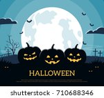 three pumpkins on the... | Shutterstock .eps vector #710688346