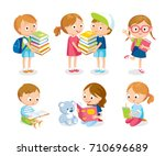 children with books and... | Shutterstock .eps vector #710696689