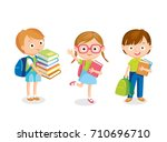 pupils with books  | Shutterstock .eps vector #710696710