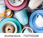 ceramic crockery tableware on... | Shutterstock . vector #710703268