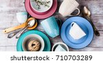 ceramic crockery tableware on... | Shutterstock . vector #710703289
