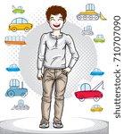 cute little teen boy standing...   Shutterstock .eps vector #710707090