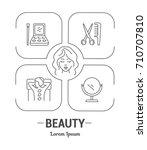 vector graphic set icon in line ... | Shutterstock .eps vector #710707810