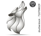 wolf head profile logo. wolf... | Shutterstock .eps vector #710708029