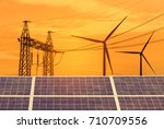 solar cells and wind... | Shutterstock . vector #710709556