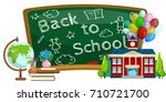 modern school buildings... | Shutterstock .eps vector #710721700