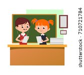 students engaged in classoom ... | Shutterstock .eps vector #710721784