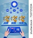 engineer hand using tablet ... | Shutterstock .eps vector #710725234