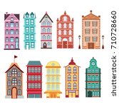 colorful and bright amsterdam ... | Shutterstock .eps vector #710728660
