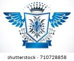 vintage winged heraldry design... | Shutterstock .eps vector #710728858