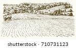 agricultural landscape. hand... | Shutterstock .eps vector #710731123