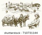 farm  rural landscape ...   Shutterstock .eps vector #710731144