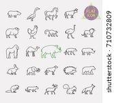 animals line icons set | Shutterstock .eps vector #710732809