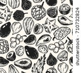 pattern with vector exotic... | Shutterstock .eps vector #710732824