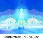 biblical scene   birth of jesus ... | Shutterstock . vector #710733220