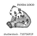line art black panda hand ... | Shutterstock .eps vector #710736919
