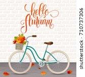 autumn hand drawn lettering....   Shutterstock .eps vector #710737306