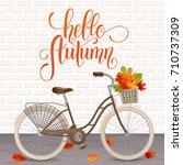 autumn hand drawn lettering....   Shutterstock .eps vector #710737309