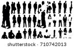 set of people silhouettes | Shutterstock . vector #710742013