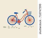 retro bicycle with basket on... | Shutterstock .eps vector #710747590
