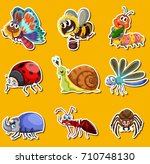 sticker set with many insects... | Shutterstock .eps vector #710748130