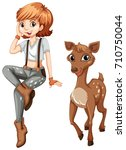 cute girl and little fawn...